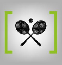 Tennis racket sign black scribble icon in vector
