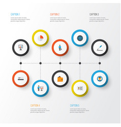 trade flat icons set collection of developer vector image vector image