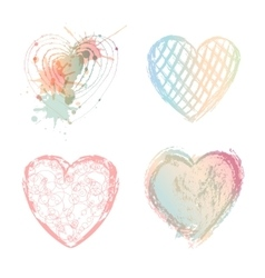 Valentines day set colorful hearts vector image vector image
