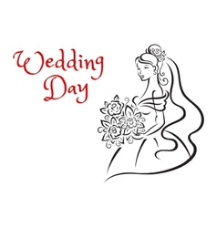Wedding day card template with young bride vector image vector image