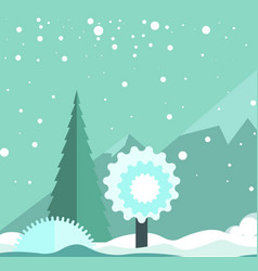 winter landscape with snowfall high mountains and vector image vector image