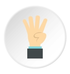 Hand gesture four fingers icon flat style vector