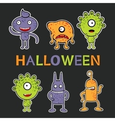 Halloween card with cute monsters collection vector