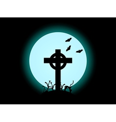 The cross on the background of the full moon hallo vector