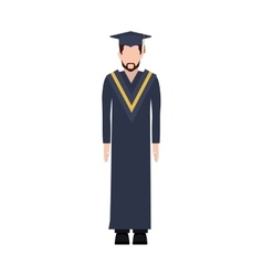 Silhouette man with graduation outfit with beard vector