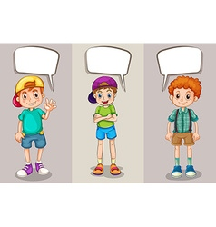 Speech bubble template with three boys vector