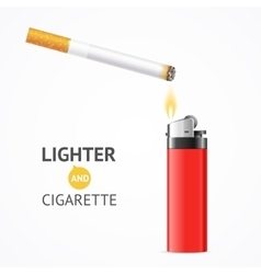 Red lighter and burning cigarette card vector