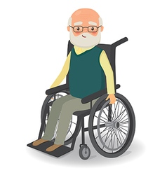 Senior man in wheelchair on a white background vector