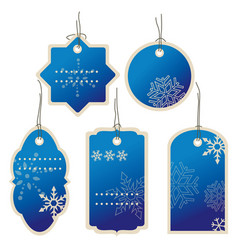 Christmas blue nad winter price tags vector