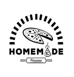 Homemade pizzeria logo with oven vector