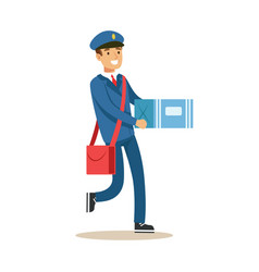 Postman in blue uniform delivering mail carrying vector