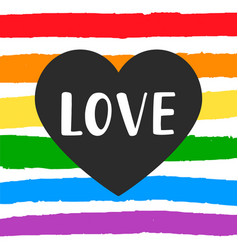 Love gay pride emblem with hand written lettering vector