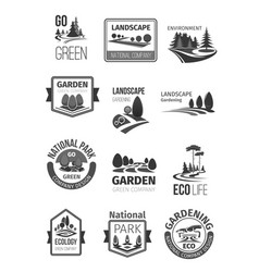 Gardens and parks landscape design icons vector