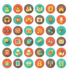 Social Networking Flat Round Icons with Long Shado vector image