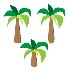 Set of palm trees in simple flat style vector