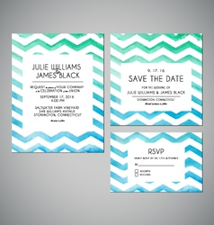 set Wedding invitation cards with watercolor vector image