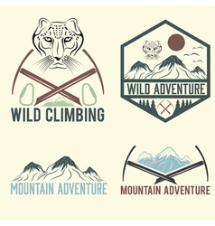 Set of vintage labels mountain adventure with snow vector