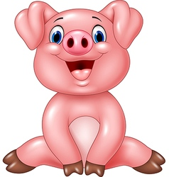 Cartoon adorable baby pig isolated vector image