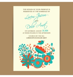 Wedding invitation card with bird and flowers vector