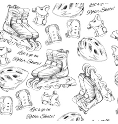 Hand drawn seamless pattern roller skates with vector
