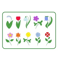 Tree cartoon flower icons set vector
