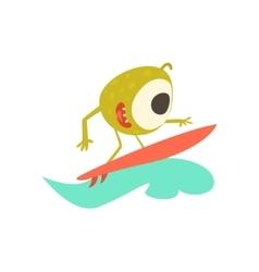 Surfer Monster On The Beach vector image