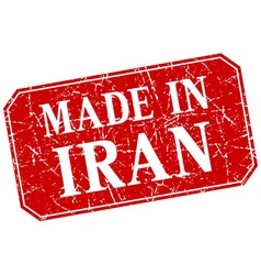 Made in iran red square grunge stamp vector