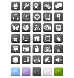 Web icons and multimedia buttons set vector image