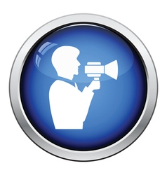 Man with mouthpiece icon vector image