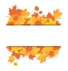 autumn leaves frame on banner with copy space vector image