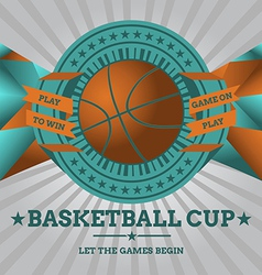 Basketball Emblem with Geometric Background vector image