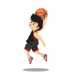 Boy air slam basketball character design cartoon vector