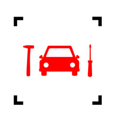 Car tire repair service sign red icon vector