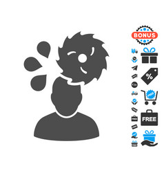 Circular saw accident flat icon with free bonus vector