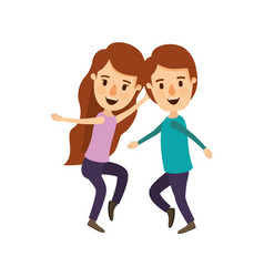 Colorful image caricature full body couple dancing vector