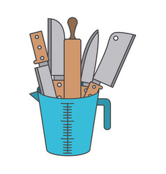 container with knives and rolling pin colorful vector image vector image