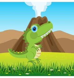 Dinosaur on glade vector