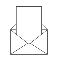 envelope with paper coming out icon vector image