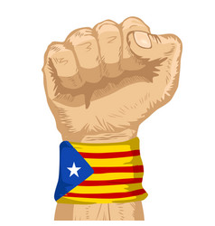 Fist wearing flag of catalonia wristband vector