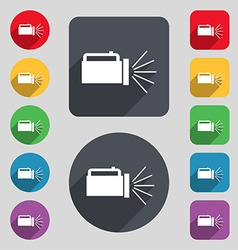Flashlight icon sign a set of 12 colored buttons vector