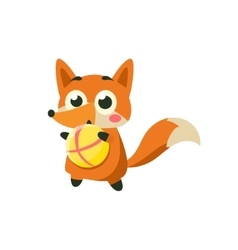 Fox Playing Ball vector image vector image