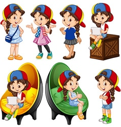 Girl in different actions vector image vector image