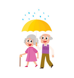 Grey-haired couple walks keeping umbrella vector