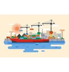 hafen in flat style vector image