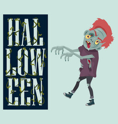 Halloween night spooky zombie vector