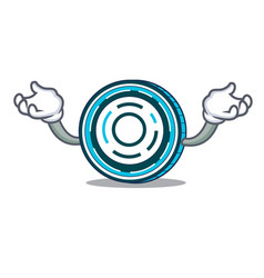 Hand up aion coin character cartoon vector