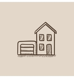 House with garage sketch icon vector image vector image