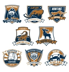 Hunting sport club icons emblems set vector