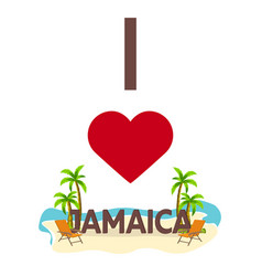i love jamaica travel palm summer lounge chair vector image vector image