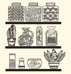 Kitchen or pantry shelves with goods vector